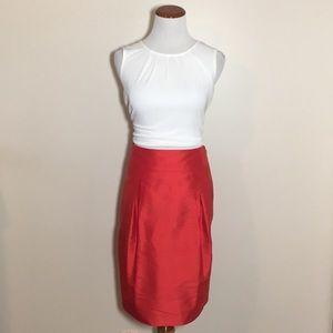 Coral silk pencil skirt